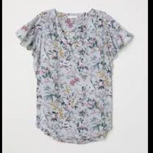 H&M top gray floral size 6